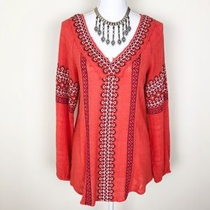 Free People boho gauze embroidered tunic